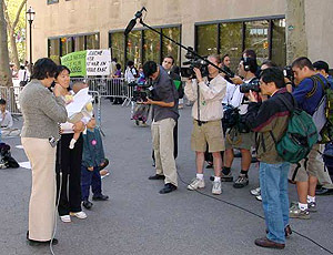 A Family Rescue press conference held outside the UN building in New York City.