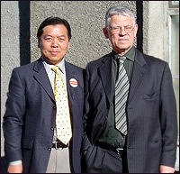 Mr. Li Shao, a Falun Dafa practitioner from the UK, and Mr. Ragnar Adalsteinsson, renowned Icelandic human rights lawyer representing the plaintiffs in a lawsuit filed against Luo Gan for crimes of torture and genocide. The defendant, Luo Gan, is embarking on a tour of European nations this week.