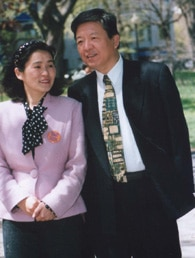 Mr. Shenli Lin, with his wife, shortly after his release from a Chinese Labor Camp where he says he was forced to make soccer balls that are found in Canadian sports stores.