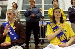 Hong Kong police forcefully detained four Swiss and twelve Hong Kong Falun Gong practitioners for staging a peaceful appeal in front of the Chinese Liaison offices. The protesters were calling for an end to the persecution of Falun Gong in Mainland China. The trial, set for verdict this week, has been called flawed by courtroom observers due to signs of influence from Jiang Zemin's regime.