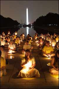 Candles fill the dark night with hope. Several hundred practitioners from all over the world gather at the base of the reflecting pool to enjoy the performances. Over the past year, practitioners have given a series of free public concerts throughout the US, Europe and Canada.