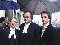 Toronto businessman, Mr. Joel Chipkar, with his legal council Mr. Peter Downard and Ms. Nicole Samson after the court found the Chinese Deputy Consul General guilty of libel.