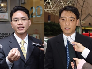 Former Chinese offi cials Mr. Chen Yonglin (left) and Mr. Hao Fengiun (right) are two of five individuals who publicly defected from the Chinese government in June 2005.