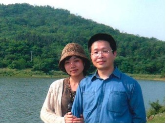"Mr. Jiang Feng and his wife. Jiang ""disappeared"" from Shanghai airport in mid-February and is now being held against his will in Anhui province."