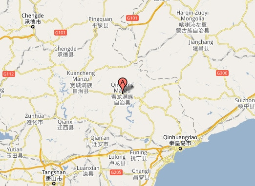 Google map showing location of Qinglong County in Hebei