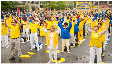 Falun Dafa practitioners exercising during a celebration of World Falun Dafa Day in New York City