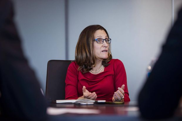 Foreign Affairs Minister Chrystia Freeland meets with The Globe and Mail's editorial board in Toronto on Dec. 1, 2017. CHRISTOPHER KATSAROV/THE GLOBE AND MAIL