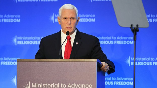 US Vice President Mike Pence speaks at the close of a three-day conference on religious freedom at the State Department in Washington, July 26, 2018. AP Photo