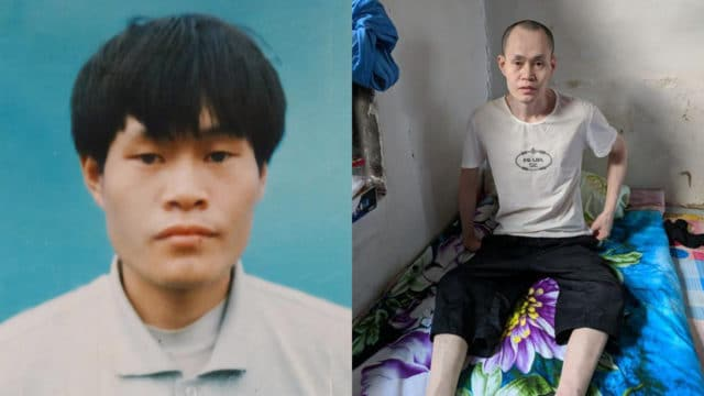 Falun Gong practitioner Mr. Zhang Jinku before and after his imprisonment. When Mr. Zhang returned home after five years in prison, he was unable to walk or speak.