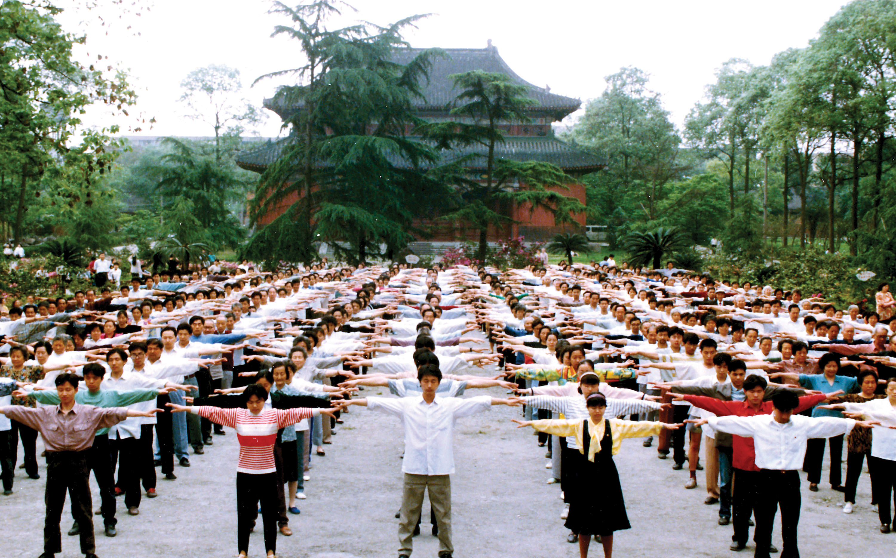 Practitioners used to gather every morning to practice Falun Gong in Chengdu, the capital of Sichuan Province.